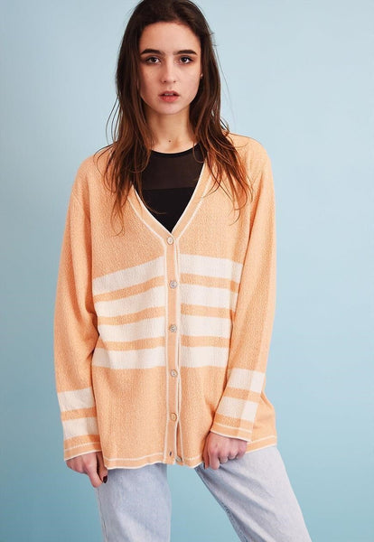 90's retro knit striped pastel Moms cardigan top
