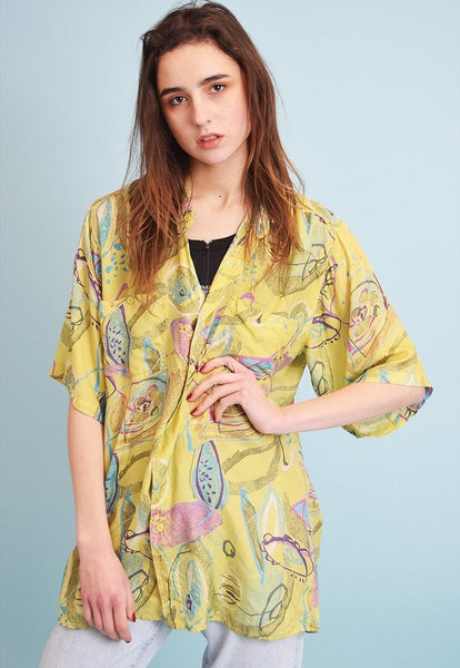 90's retro abstract print oversized shirt blouse top