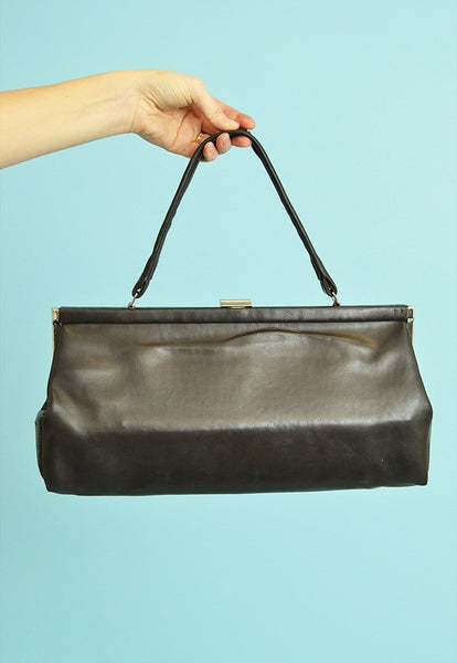 70's retro Clutch style faux leather large minimalist bag
