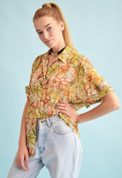 90's retro abstract print oversized sheer Moms blouse top