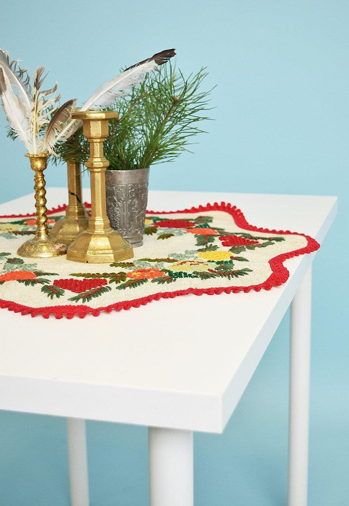70's Christmas linen handmade cross stitch tablecloth