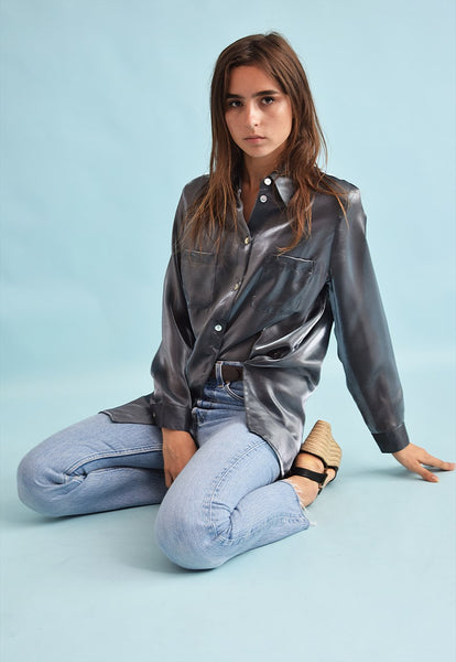 90's retro grunge metal shimmer loose-fitted shirt top