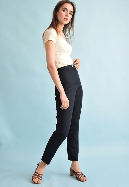 90's retro high waist linen tapered trousers