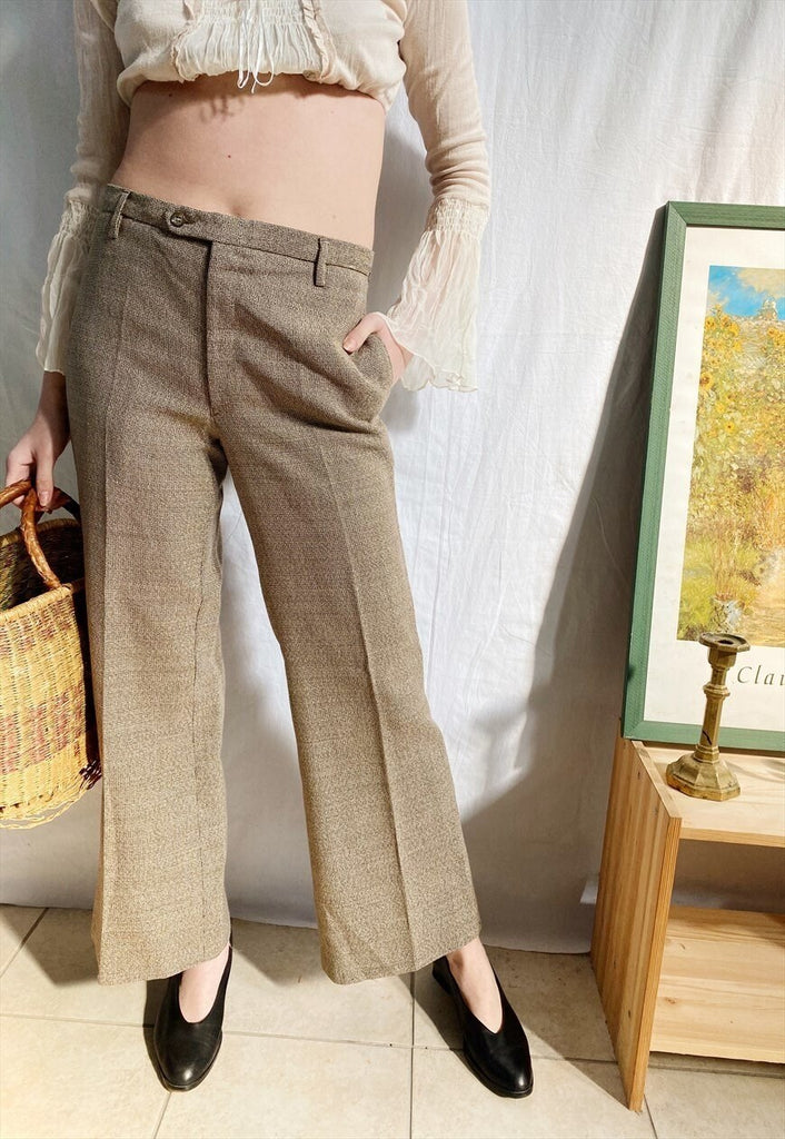 Vintage 70s Tweed CARTOUCHE flared tapered trousers pants