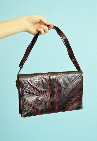 80's retro faux leather Clutch style petite bag