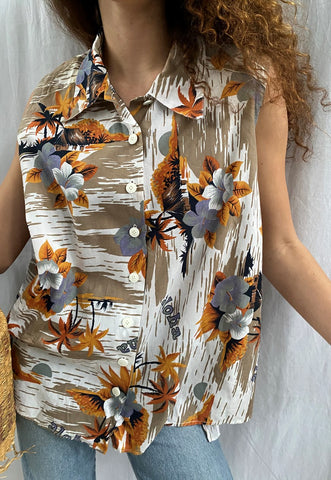 Vintage 80s Hawaii Tropicana print blouse top shirt