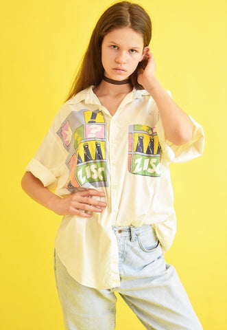 90's retro neutral novelty print oversized blouse top
