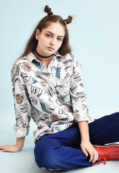 90's retro travel print neutral shirt top