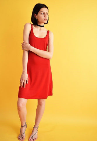 Vintage Y2K retro mini red lycra spaghetti strap dress