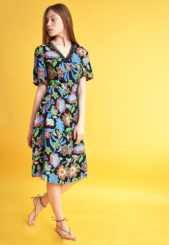 Vintage 70's retro floral pattern lace midi elegant dress