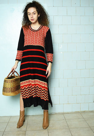 Vintage 70s Knitted Mod Boho chic maxi dress festive