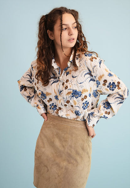 90's retro floral print neutral shirt blouse