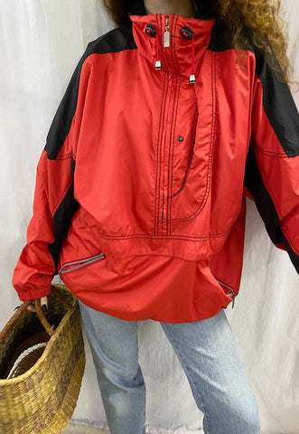 Vintage 90s 1/4 zip oversized rave windbreaker jacket anorak
