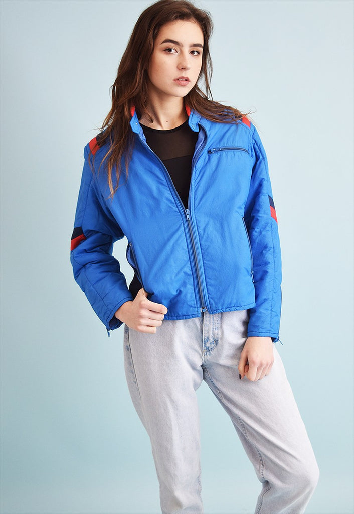 80's retro sports puffer padded jacket