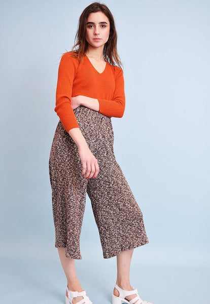 70's retro highwaisted jazzy knit straight trousers culottes