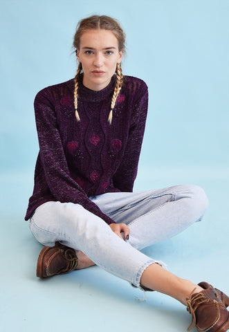 90's retro beaded knit embroidery shimmer jumper