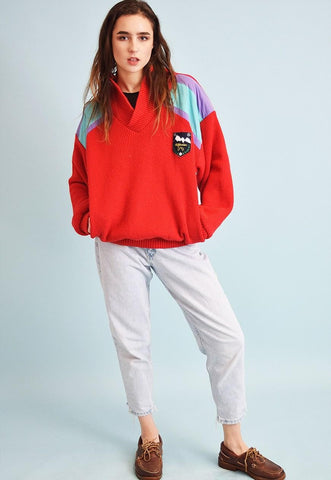 80's retro oversized chunky knit sports Dads sweatshirt top