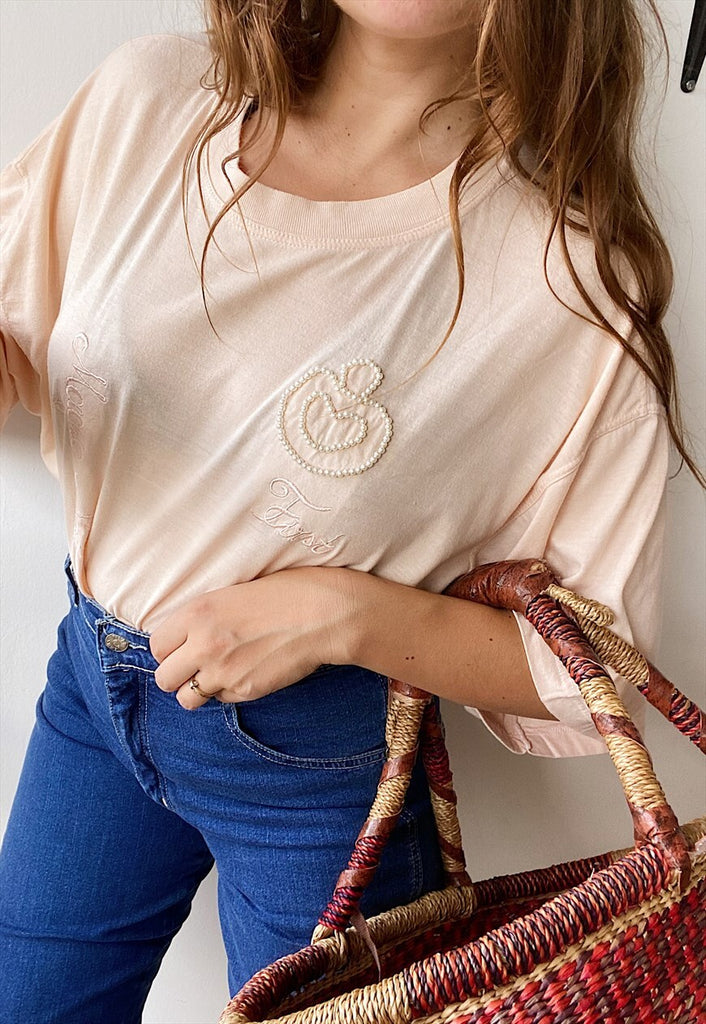 Vintage 80s Luxe Pearl Embroidered slogan top tee t-shirt