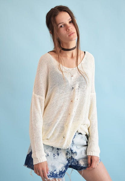 90's retro festival neutral oversized knit sheer jumper top