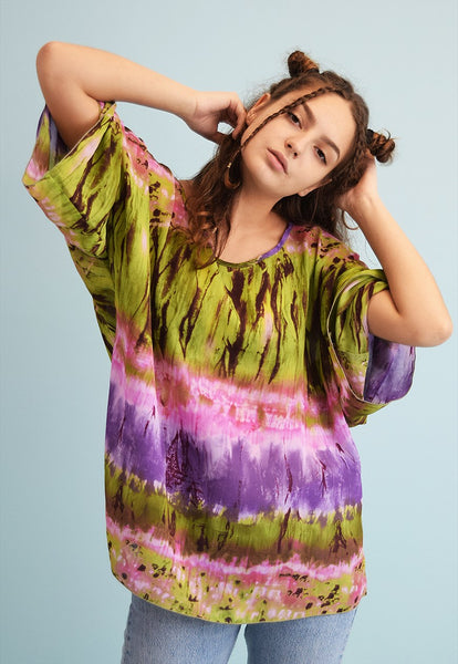 90's retro Boho groovy tie dye oversized sheer top