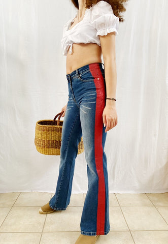 Vintage Y2K 90s high waist glitter flared jeans blue denim