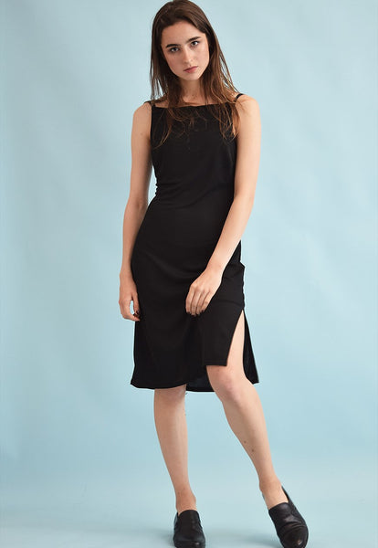 90's retro minimalist side split lycra grunge midi dress