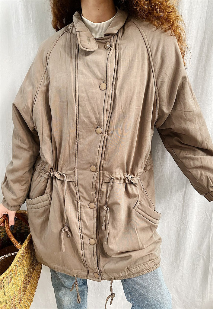 Vintage 80s Neutral midseason thin jacket parka coat