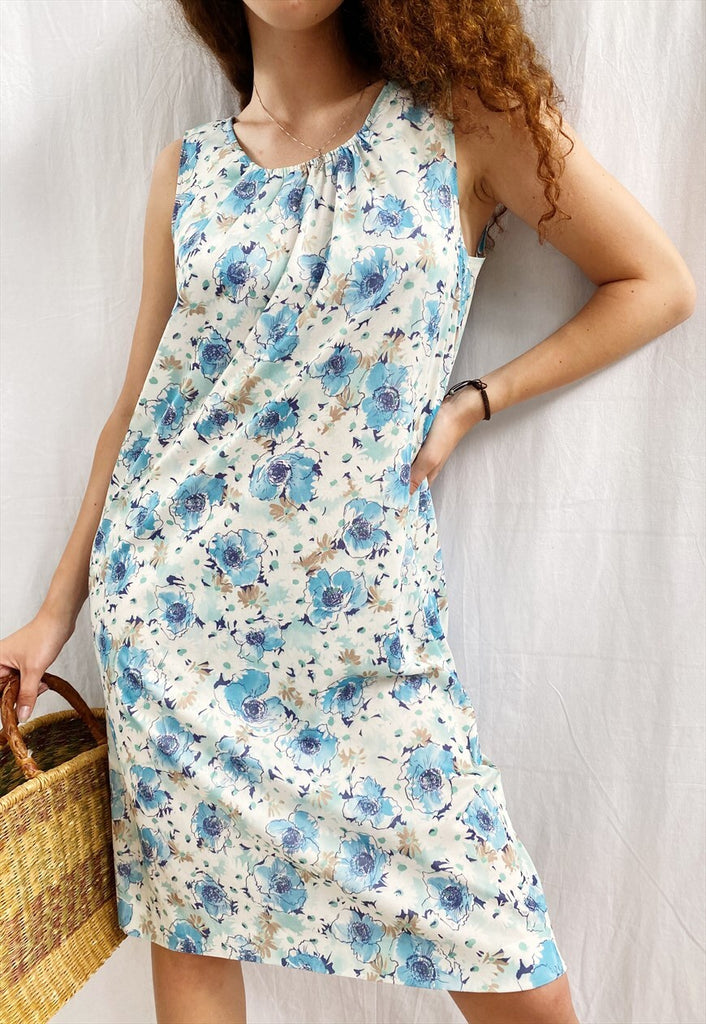 Vintage 70s Mod Abstract floral print Boheme chic maxi dress