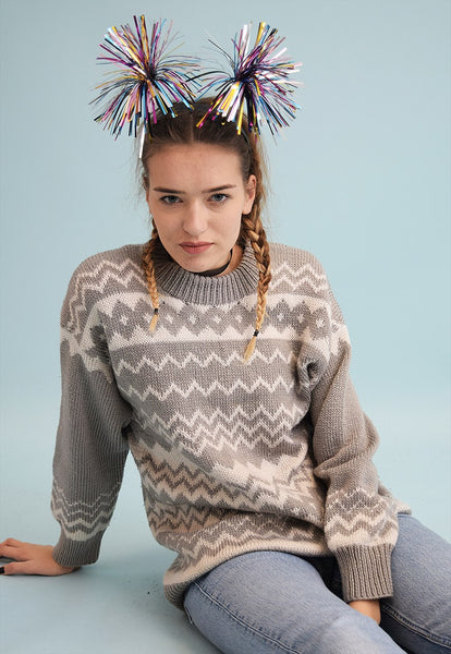 90's retro Fair Isle neutral knit Christmas jumper
