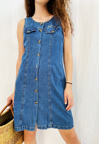 Vintage 90s denim Parisian midi summer dress minimalist