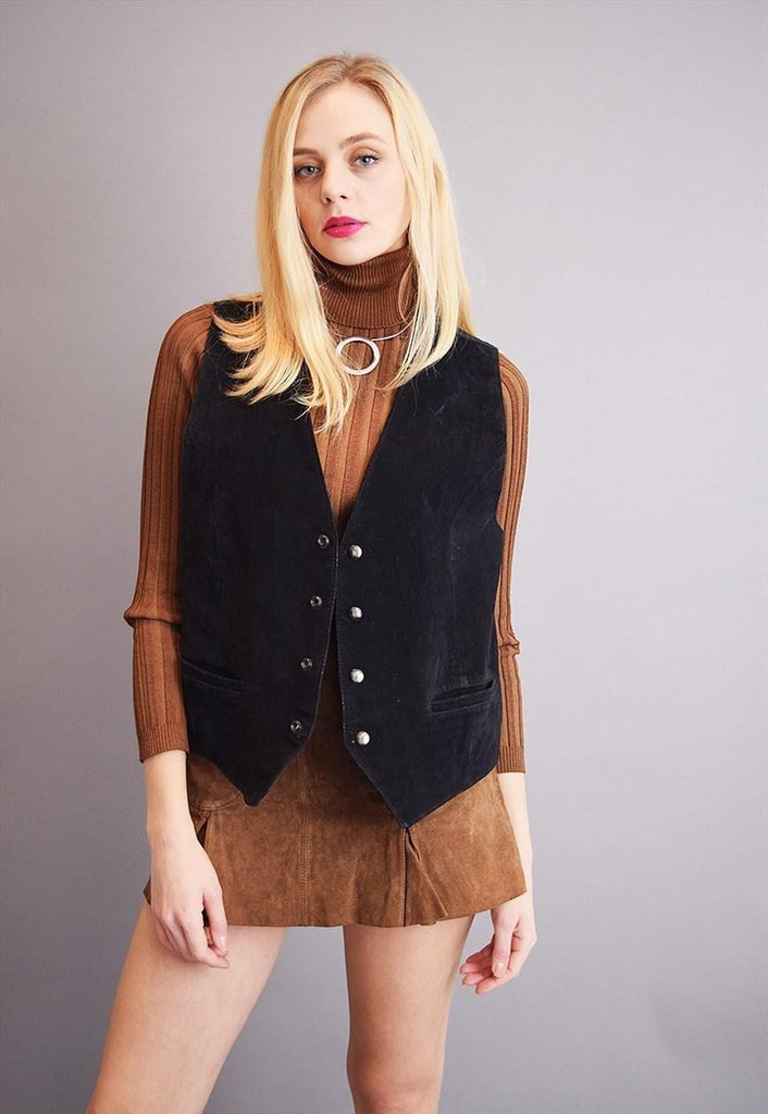 Cute 70's retro Boho genuine suede gilet top vest