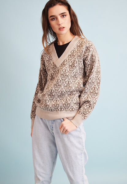 90's retro abstract knit neutral oversized Dads jumper top