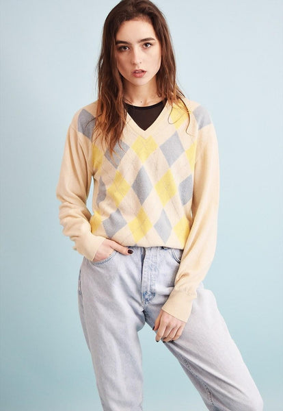 70's retro argyle pattern neutral knit oversized jumper top
