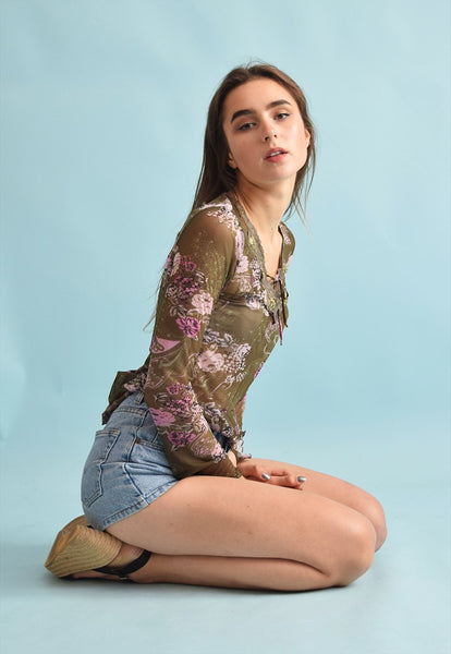 90's retro trimmed Kitsch festival floral print mesh top