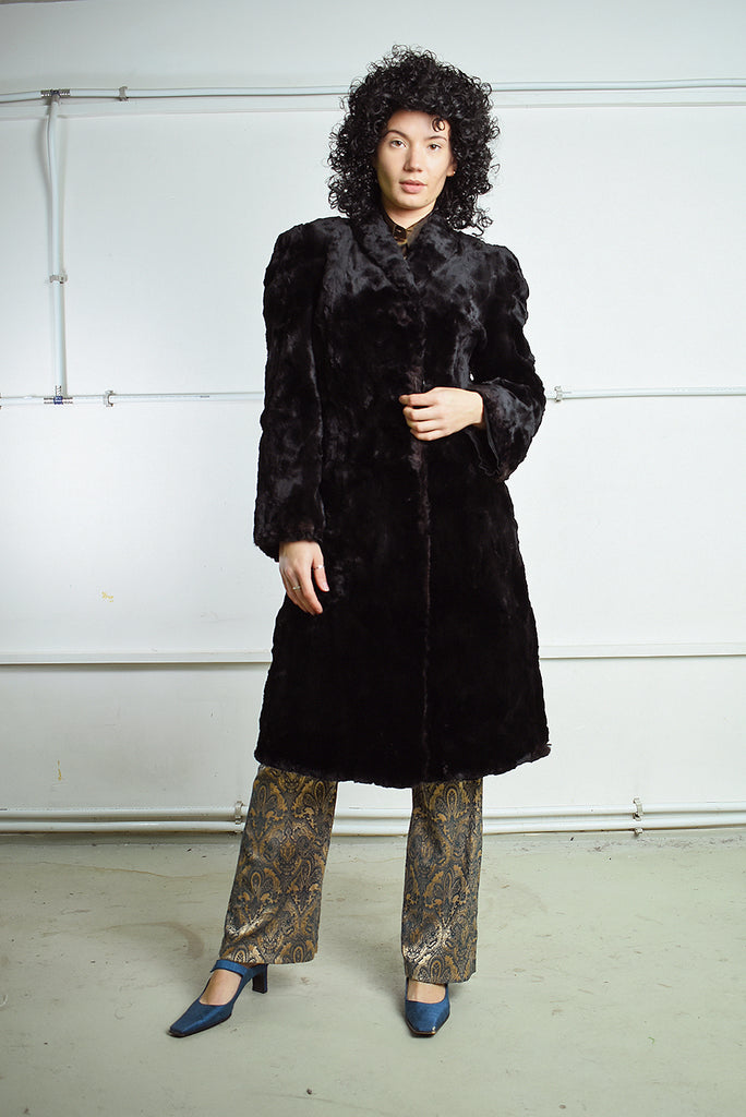 Amazing Vintage 80s Real  Fur Midi Length Coat