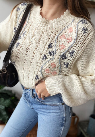 Vintage 80s Fair Isle Christmas knit jumper sweater