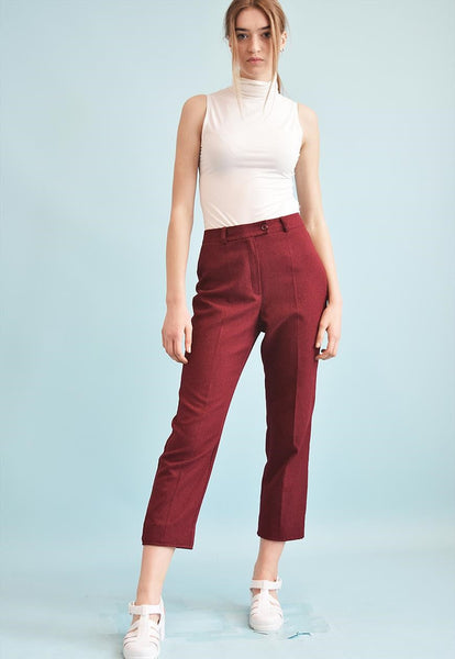 90's retro short cut tapered maroon trousers