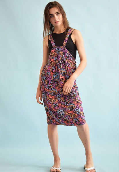 90's retro abstract floral print cocoon pinafore midi dress