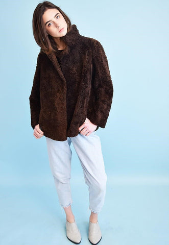 90's retro faux fur warm brown cropped jacket