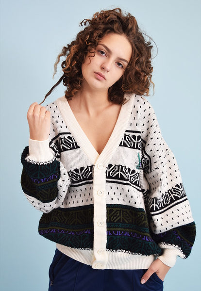 90's retro Fair Isle knit slouchy cardigan
