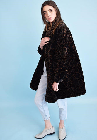 Vintage 90's retro oversized animal print faux fur coat