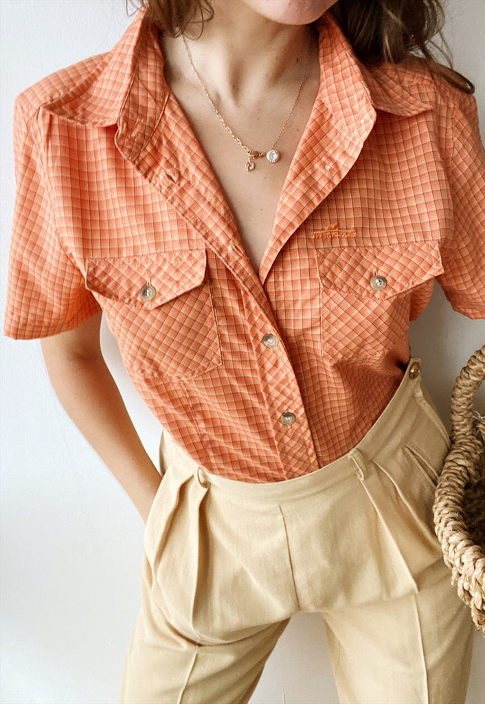 Vintage 90s Prairie Gingham checked Orange blouse shirt top
