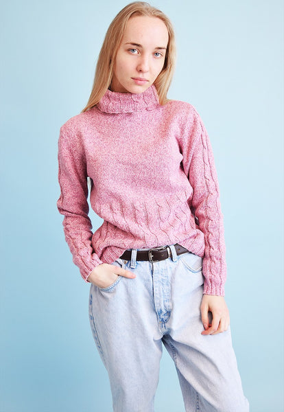 90's retro jazzy knitted roll neck teen jumper top