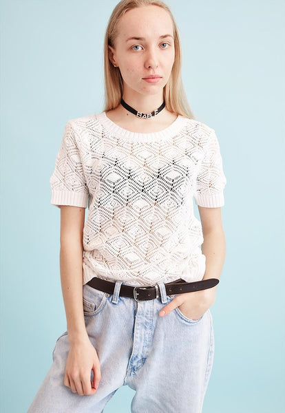 90's retro neutral knitted sheer Moms top blouse