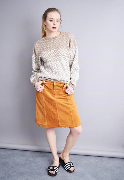 90's retro orange highwaisted corduroy A-line midi skirt
