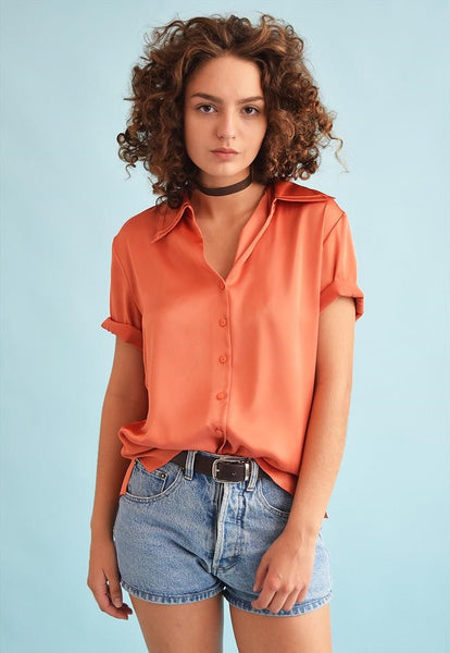 90's retro classy loose-fitted Moms blouse top