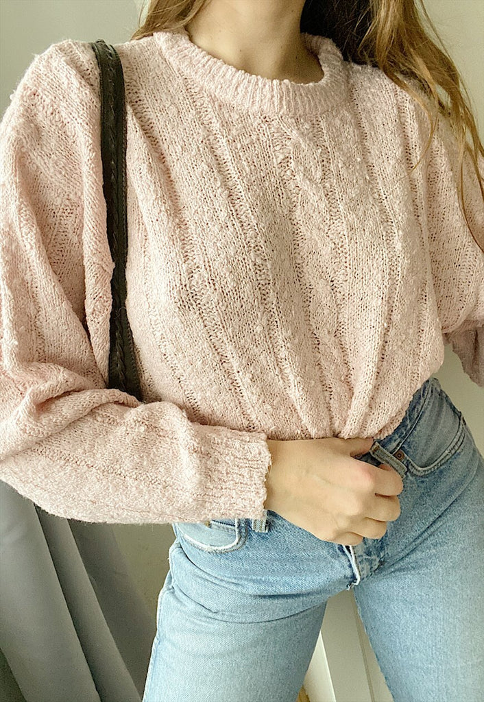 Vintage 90s pastel pink knit jumper sweater