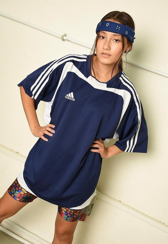 Y2K retro ADIDAS athleisure sports t-shirt tee in blue