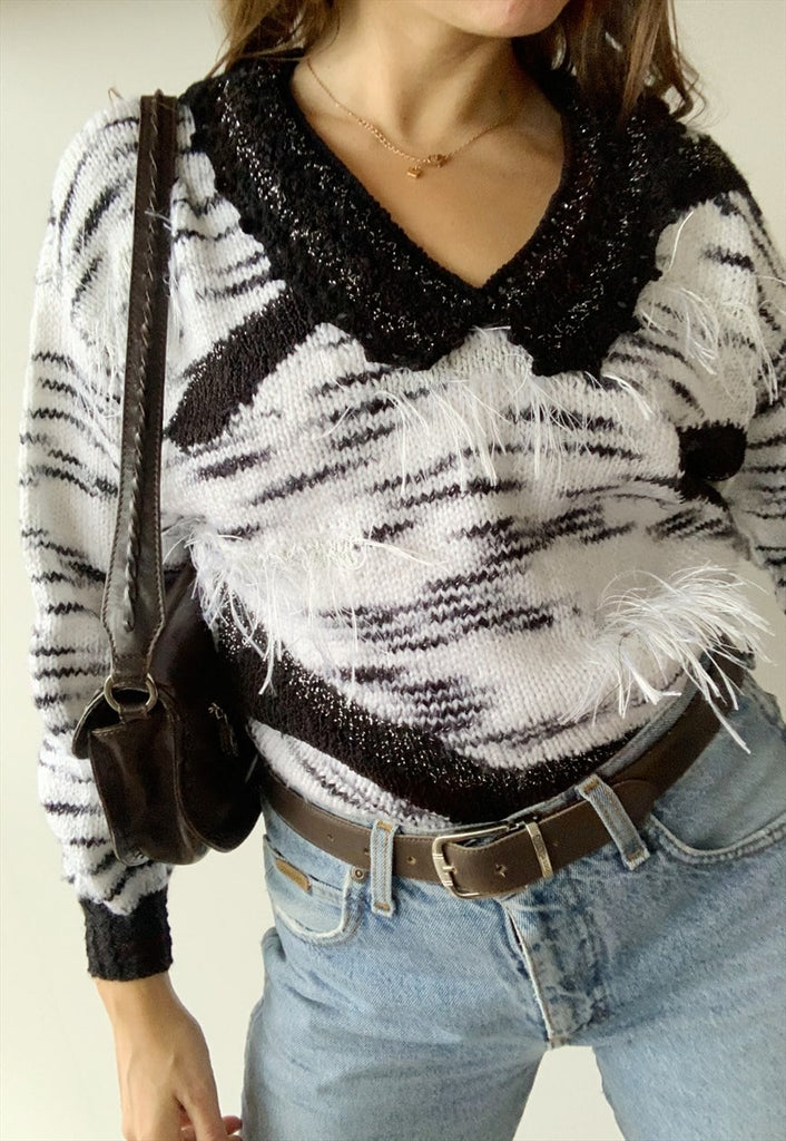 Vintage 80s fluffy jazzy handknitted Parisian jumper sweater