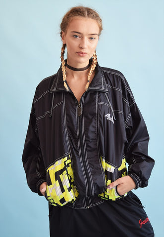 90's retro athleisure sports oversized bomber jacket